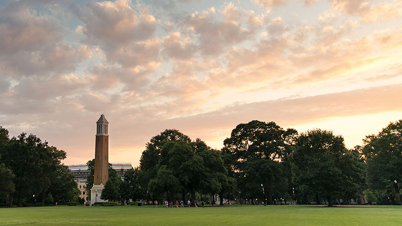 University of Alabama campus with Denny Chimes